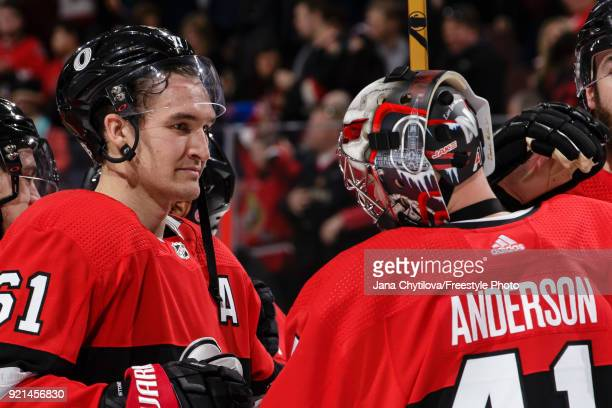 Teammates Mark Stone and Craig Anderson of the Ottawa Senators celebrate after their win against the New York Rangers at Canadian Tire Centre on...