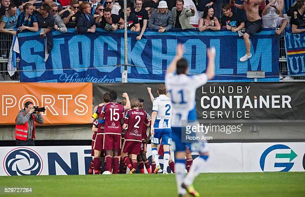 Teammates of Djurgardens IF celebrates after Desard Sabovic scoring the opening 01 during the Allsvenskan match between IFK Goteborg and Djurgardens...