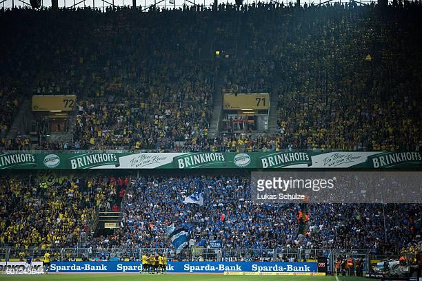 Teammates of Dortmund and fans of Dortmund celebrate the 60 goal of Emre Mor of Dortmund during the Bundesliga match between Borussia Dortmund and SV...
