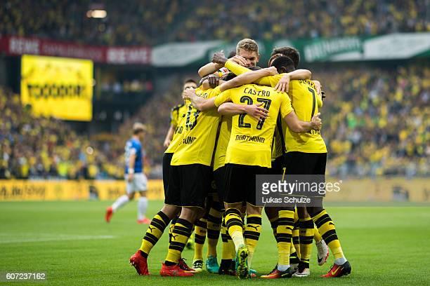 Teammates of Dortmund celebrate the 10 goal of Gonzalo Castro of Dortmund during the Bundesliga match between Borussia Dortmund and SV Darmstadt 98...
