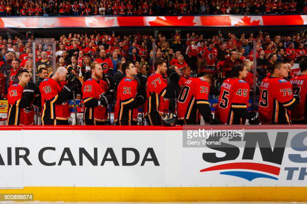 Teammates of the Calgary Flames at the opening in an NHL game on February 19 2018 at the Scotiabank Saddledome in Calgary Alberta Canada