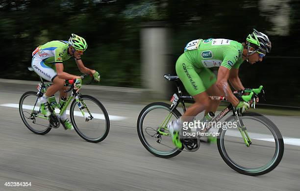 Teammates Peter Sagan of Slovakia and Cannondale and Alessandro De Marchi of Italy and Cannondale launch the attack that would form the breakaway...