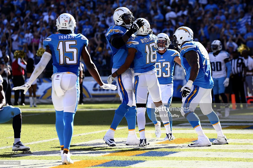 Teammates react after Tyrell Williams #16 of the San Diego Chargers scores a touchdown in the first half against the Tennessee Titans at Qualcomm Stadium on November 6, 2016 in San Diego, California.
