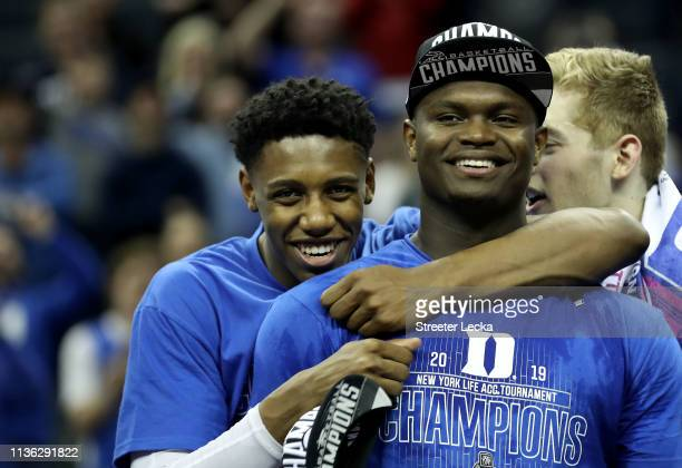 Teammates RJ Barrett and Zion Williamson of the Duke Blue Devils react after defeating the Florida State Seminoles 7363 in the championship game of...
