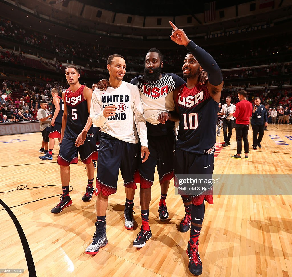 James Harden And Stephen Curry: Teammates Stephen Curry, James Harden, And Kyrie Irving Of
