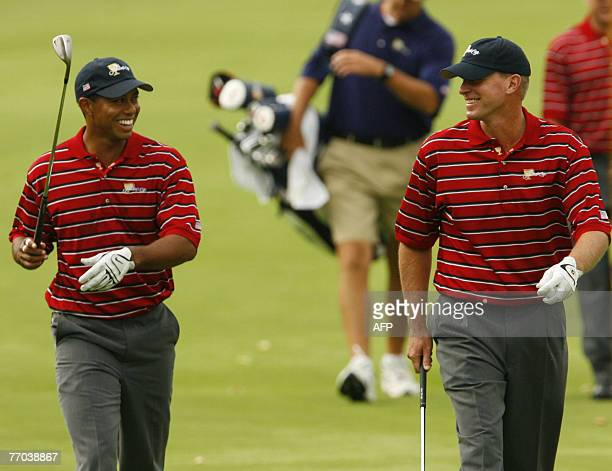 Teammates, Tiger Woods and Steve Stricker walk up the 10th hole at The Royal Montreal Golf Club host of the 2007 President's Cup 26 September, 2007...