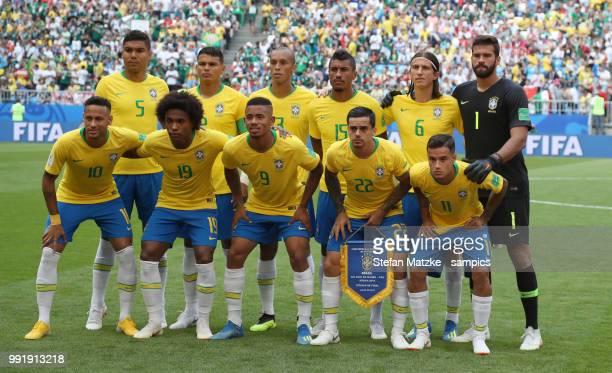 Teamphoto Brasil Casemiro of Brazil Thiago Silva of Brazil Miranda of Brazil Paulinho of Brazil Filipe Luis of Brazil Alisson of Brazil Neymar of...