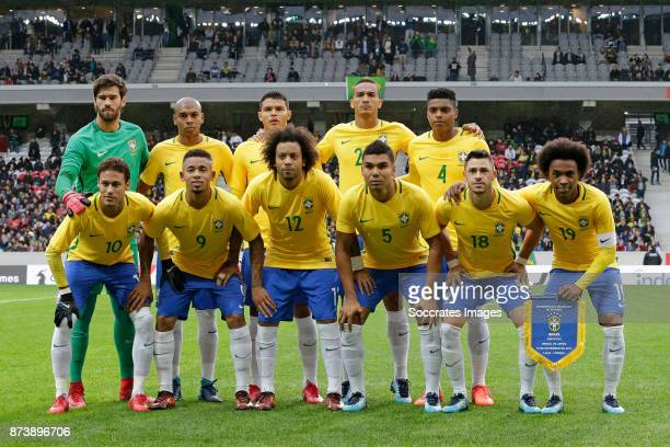 Teamphoto Brazil standing Alisson of Brazil Fernandinho of Brazil Thiago Silva of Brazil Danilo of Brazil Jemerson of Brazil Below Neymar Jr of...