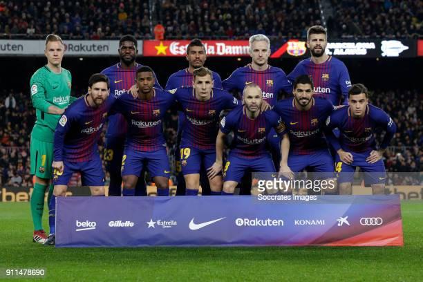 teamphoto FC Barcelona back row Marc Andre ter Stegen of FC Barcelona Samuel Umtiti of FC Barcelona Paulinho of FC Barcelona Ivan Rakitic of FC...