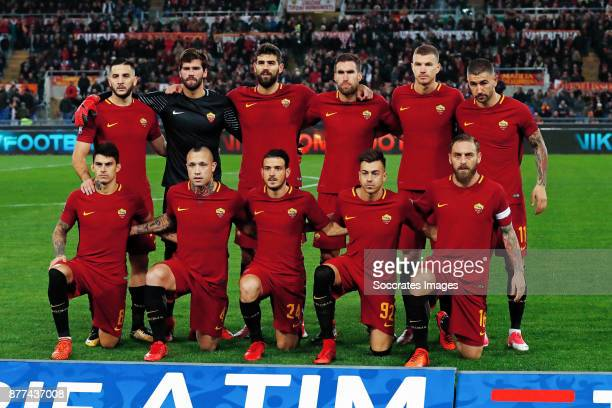 Teamphoto Kostas Manolas of AS Roma Alisson of AS Roma Federico Fazio of AS Roma Kevin Strootman of AS Roma Edin Dzeko of AS Roma Aleksandar Kolarov...