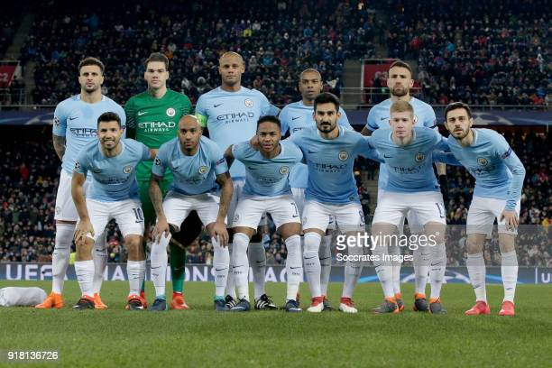 teamphoto Manchester City back row Kyle Walker of Manchester City Ederson of Manchester City Vincent Kompany of Manchester City Fernandinho of...
