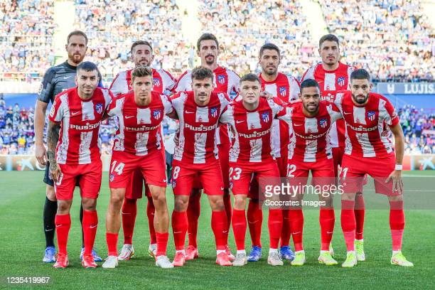 Teamphoto of Atletico Madrid Jan Oblak of Atletico Madrid, Hector Herrera of Atletico Madrid, Stefan Savic of Atletico Madrid, Luis Suarez of...