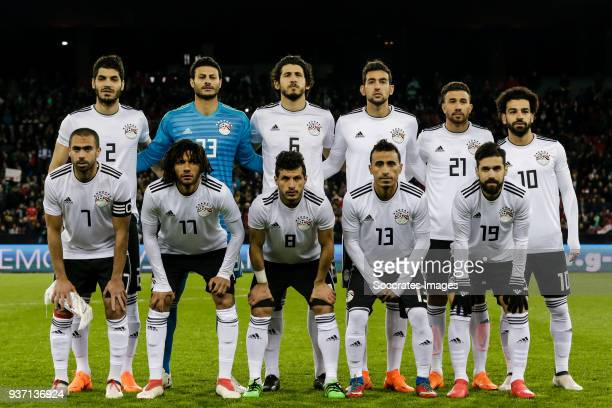 teamphoto of Egypt back row Ali Gabr of Egypt Ahmed El Shenawy of Egypt Ahmed Hegazy of Egypt Ahmed Hassan of Egypt Mahmoud Ibrahim of Egypt Mohamed...