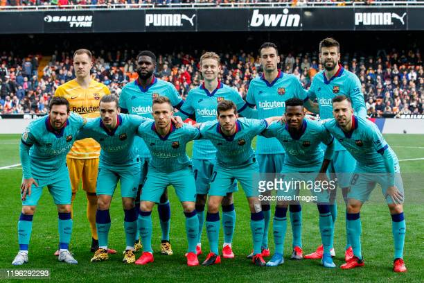 teamphoto of FC Barcelona Marc Andre ter Stegen of FC Barcelona Samuel Umtiti of FC Barcelona Frenkie de Jong of FC Barcelona Sergio Busquets of FC...