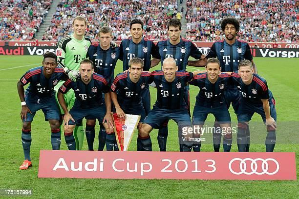 teamphoto of FC Bayern Munchen standing FLTR Manuel neuter Toni Kroos Claudio Pizarro Javier Martinez Dante below FLTR David Alaba Frank Ribery...