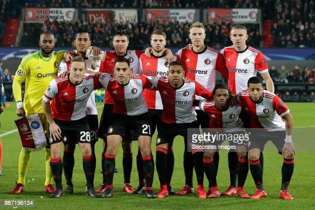 Teamphoto of Feyenoord standing Kenneth Vermeer of Feyenoord Renato Tapia of Feyenoord Steven Berghuis of Feyenoord Bart Nieuwkoop of Feyenoord...