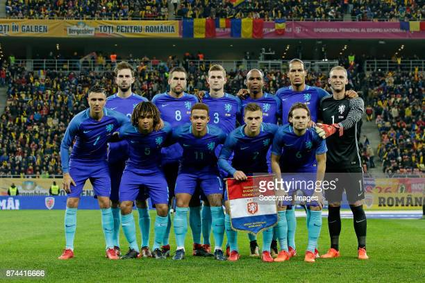 Teamphoto of Holland standing Davy Propper of Holland Kevin Strootman of Holland Matthijs de Ligt of Holland Ryan Babel of Holland disappointed...