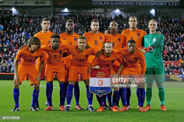 Teamphoto of Holland Standing Karim Rekik of Holland Timothy Fosu Mensah of Holland stadium Ryan Babel of Holland disappointed Jasper Cillessen of...