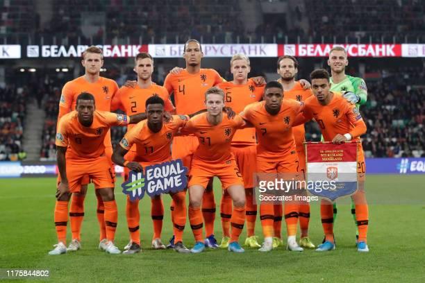 Teamphoto of Holland standing Matthijs de Ligt of Holland, Joel Veltman of Holland, Virgil van Dijk of Holland, Donny van de Beek of Holland, Daley...