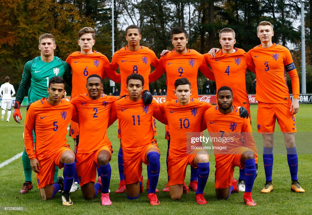 Teamphoto Of Holland U19 Standing Mike Van De Meulenhof Of
