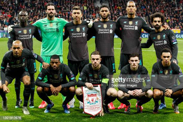teamphoto of Liverpool FC Sadio Mane of Liverpool FC Alisson Becker of Liverpool FC Roberto Firmino of Liverpool FC Joe Gomez of Liverpool FC Virgil...