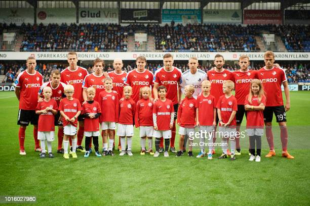 Teamphoto of players of Randers FC and mascots prior to the Danish Superliga match between Randers FC and AGF Arhus at BioNutria Park Randers on...