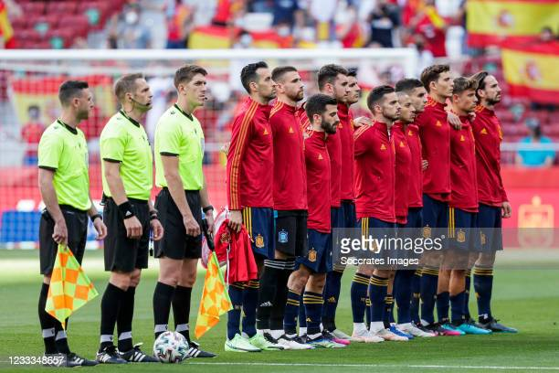 Teamphoto of Spain during the International Friendly match between Spain v Portugal at the Estadio Wanda Metropolitano on June 4, 2021 in Madrid Spain