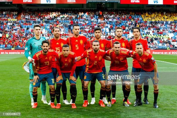 Teamphoto of Spain Kepa Arrizabalaga of Spain, Sergio Ramos of Spain, Sergio Busquets of Spain, Marco Asensio of Spain, Inigo Martinez of Spain,...