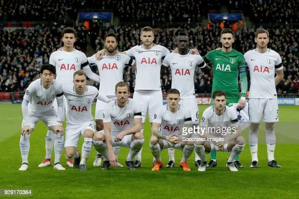teamphoto of Tottenham Hotspur back row Dele Alli of Tottenham Hotspur Mousa Dembele of Tottenham Hotspur Eric Dier of Tottenham Hotspur Davinson...