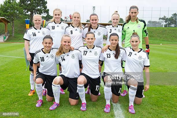 Teamphoto of U17 Girl's Germany first line Ecem Cumert Franziska Gieseke Giovanna Hoffmann Vildan Kardesler Isabella Moeller second line Jule...