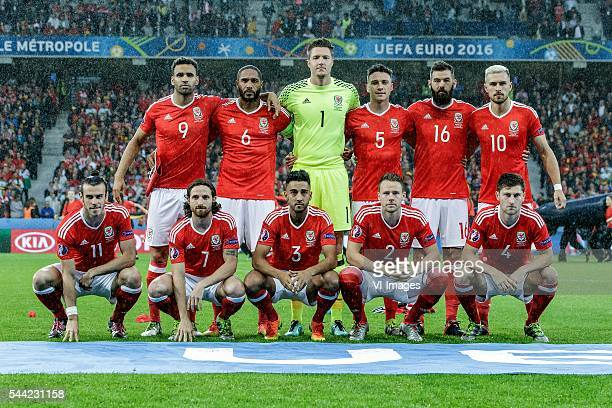 Teamphoto of Wales Back row Hal Robson Kanu of Wales Ashley Williams of Wales Wayne Hennessey of Wales James Chester of Wales Joe Ledley of Wales...