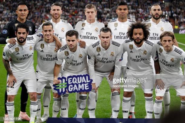 teamphoto Real Madrid back row Keylor Navas of Real Madrid Sergio Ramos of Real Madrid Toni Kroos of Real Madrid Casemiro of Real Madrid Karim...
