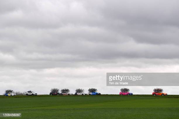 Teams Cars / Landscape / during the 75th Omloop Het Nieuwsblad 2020, Men Race a 200km race from Ghent to Ninove / @OmloopHNB / #OHN20 /on February...