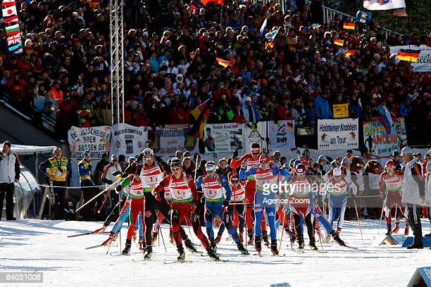 Teams compete at the start of the IBU Biathlon World Cup Men's Relay event on December 14 2008 in Hochfilzen Austria