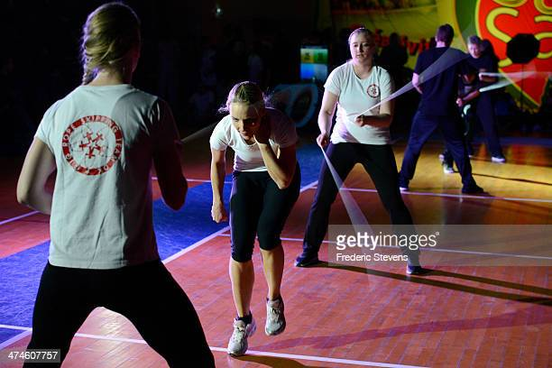 Teams compete during the 4th International Double Dutch Championship at Stade Charlety on February 22 2014 in Paris France Fifty entrants from a...