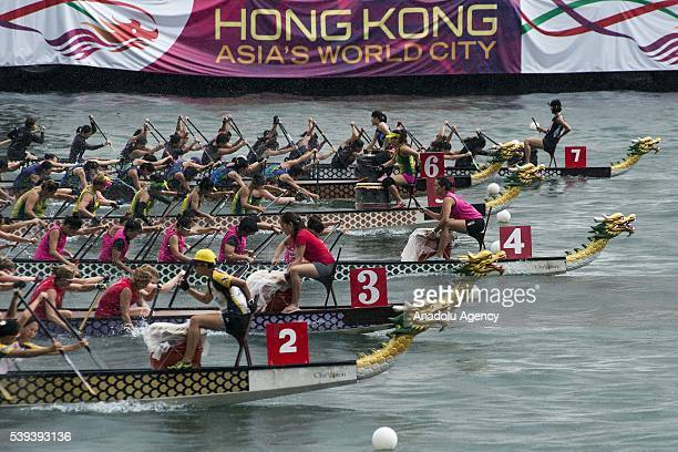 Teams compete during the Hong Kong Dragon Boat Festival held at Central Harbourfront in Hong Kong on June 11 2016