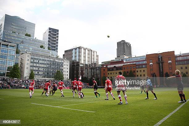 Teams compete in a lineout during the match between Saracens and Gloucester at Honourable Artillery Company on May 15 2014 in London England