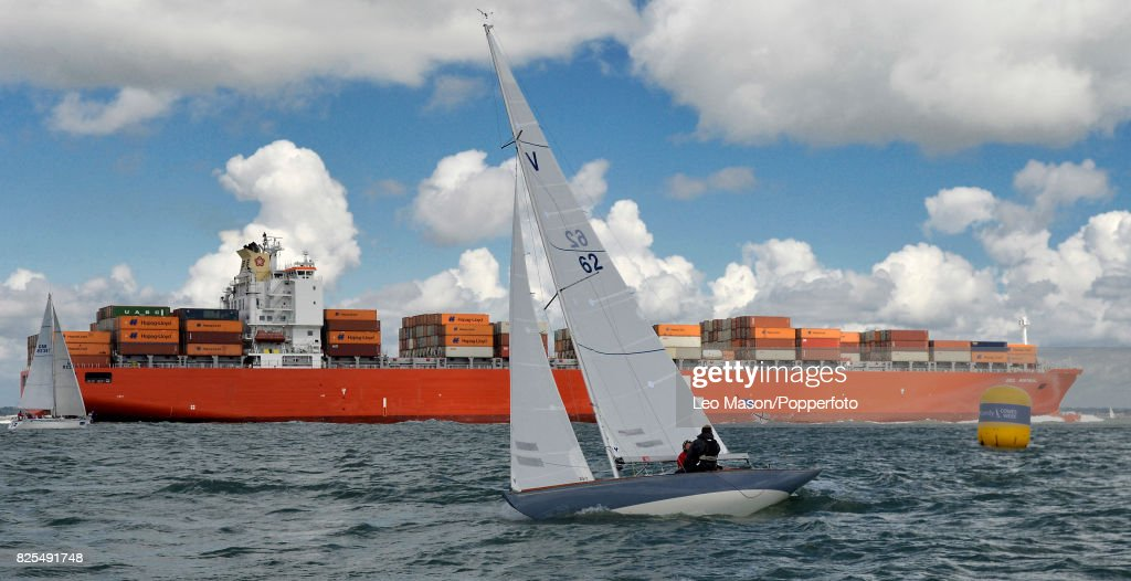 Teams compete in preliminary heats during Aberdeen Asset Management Cowes Week on August 1, 2017 in Cowes, England.