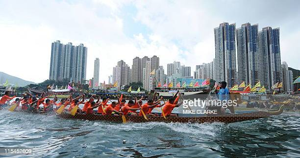 Teams compete in the 2011 regional dragon boat races held at Aberdeen fishing harbour in Hong Kong on June 6 2011 The traditional races are held at...
