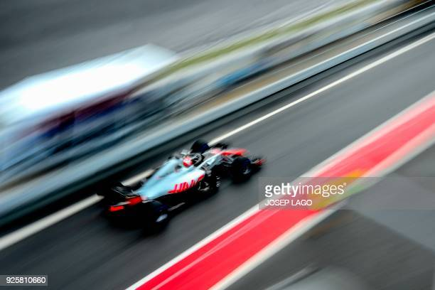 Team's Danish driver Kevin Magnussen drives at the Circuit de Catalunya on March 1, 2018 in Montmelo on the outskirts of Barcelona during the fourth...
