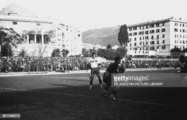 Teams during the football match Genoa Torino Luigi Ferraris stadium October 10 Italian Premier League 19371938 Genoa Italy 20th century