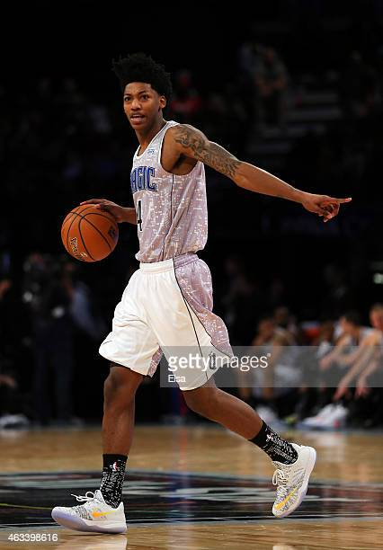 S Team's Elfrid Payton of the Orlando Magic points during the BBVA Compass Rising Stars Challenge as part of the 2015 NBA Allstar Weekend at the...