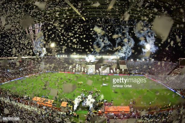 Teams enter the field ahead of the second leg match between Lanus and Gremio as part of Copa Bridgestone Libertadores 2017 Final at Ciudad de Lanus...