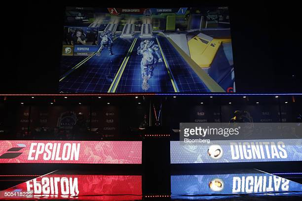 Teams Epsilon eSports and Team Dignitas compete in the final round of Halo UK World Championship Finals 2016 at the Gfinity Arena in London UK on...