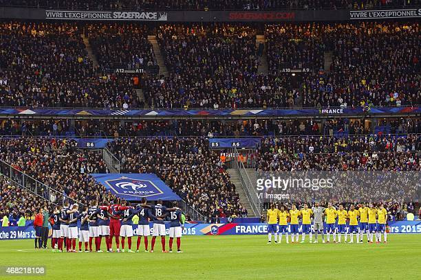 teams France and Brazil during one minute silence aircraft accident during the International friendly match between France and Brazil on March 26...