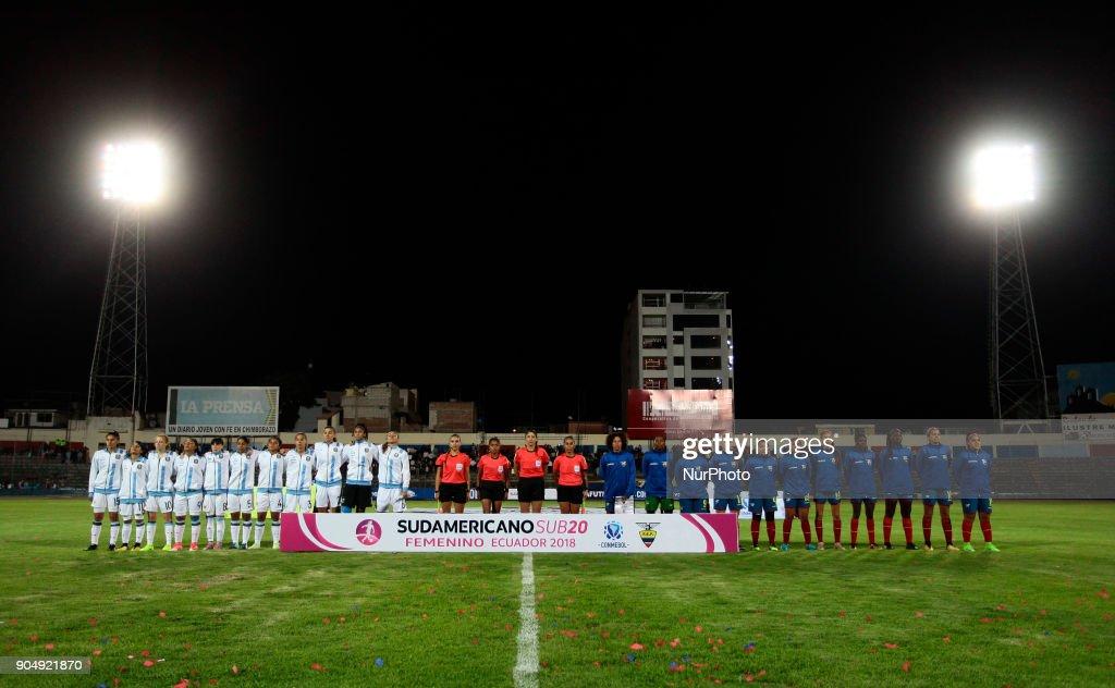 Teams from Argentina (left) and Ecuador before the game between Ecuador vs Argentina, played at the Fernando Guerrero Stadium by the Sudamericano female U20, in Riobamba, Ecuador, Saturday, January 13, 2018.