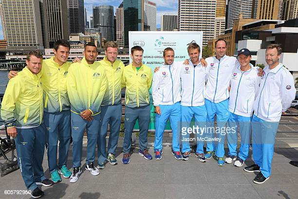 Teams from Australia and Slokavia pose during the Davis Cup World Group Playoff Australia v Slovakia Official Draw at Circular Quay on September 15...