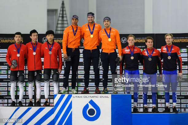 Teams from China Netherlands and Norway stand of the podium after the men's team sprint during the ISU World Single Distances Speed Skating...