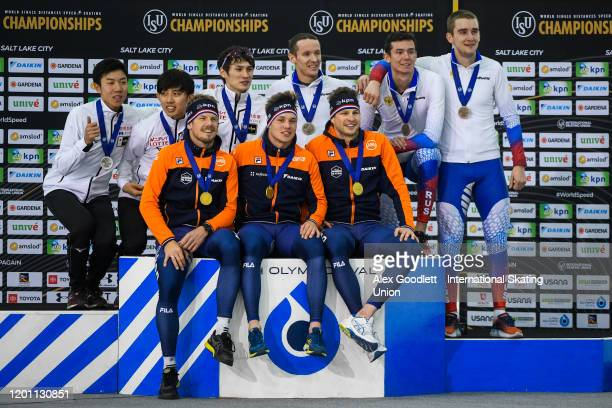 Teams from Japan the Netherlands and Russia stand on the podium after the men's team pursuit during the ISU World Single Distances Speed Skating...