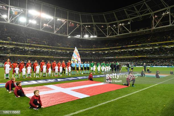 Teams line up ahead of the UEFA Nations League B Group Four match between Ireland and Denmark at Aviva Stadium on October 13 2018 in Dublin Ireland
